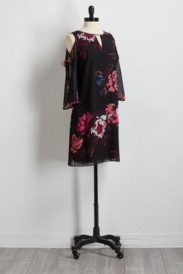 floral slit tie sleeve shift dress