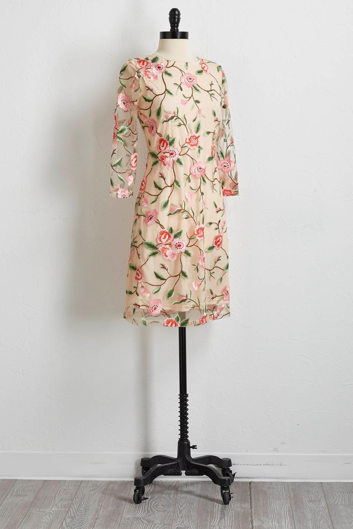 Mesh Floral Embroidered Shift Dress