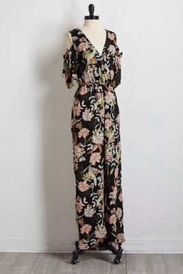 floral tie bare shoulder jumpsuit