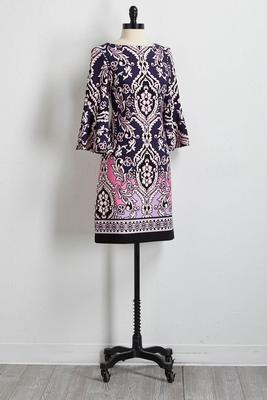 bordered floral shift dress