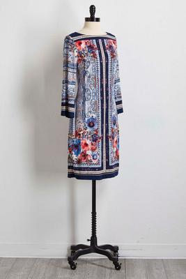 moroccan border floral shift dress