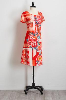 geo floral sheath dress
