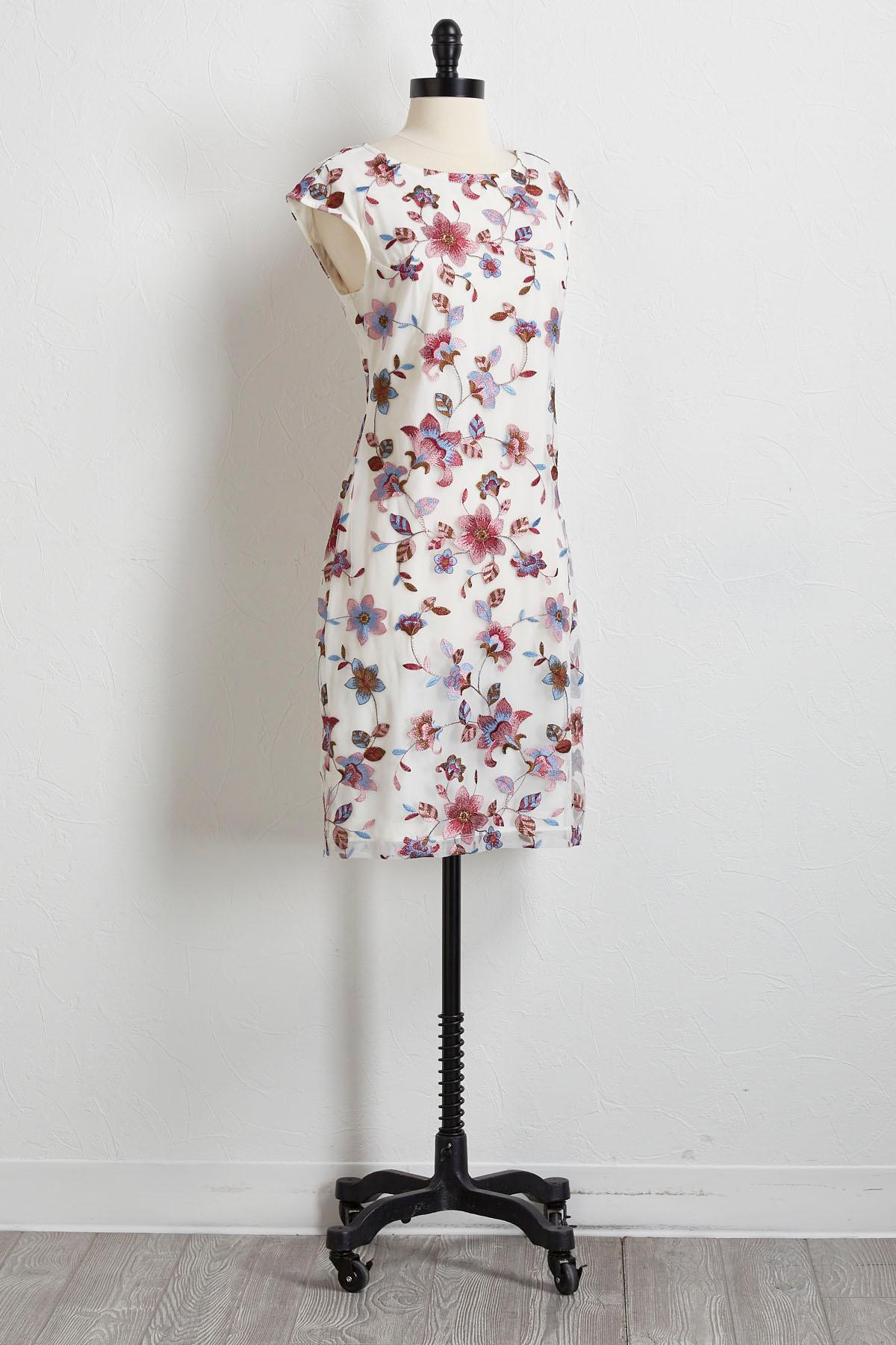 Floral Embroidered Sheath Dress