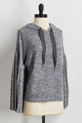hacci pleated sleeve hoodie s