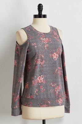 floral bare shoulder sweatshirt