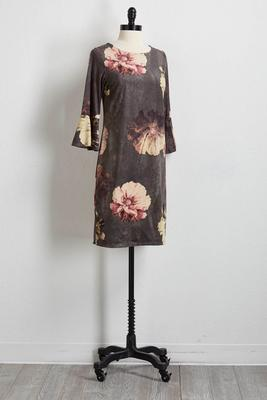 floral faux suede shift dress