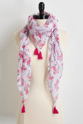tasseled flamingo love scarf