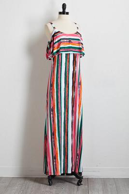 flounced brushed stripe maxi dress