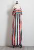 Flounced Brushed Stripe Maxi Dress
