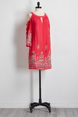 embroidered bare shoulder shift dress