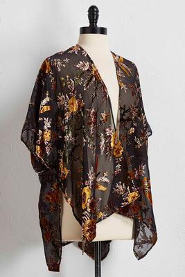 rustic velvet floral kimono