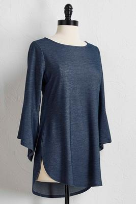chambray flare sleeve tunic