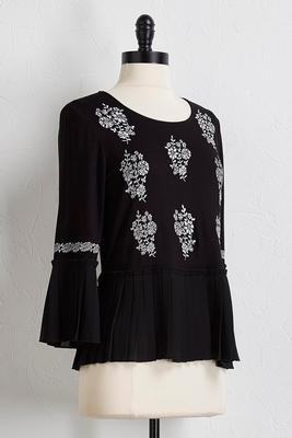 pleated floral embroidered top