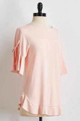 ruffled tie sleeve top