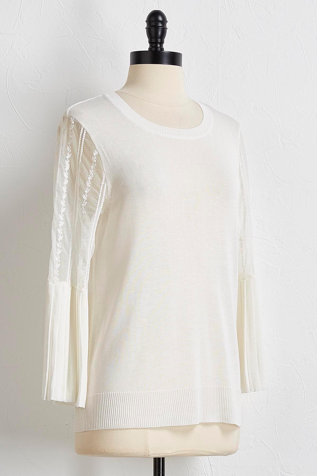Pleated Lace Sleeve Sweater