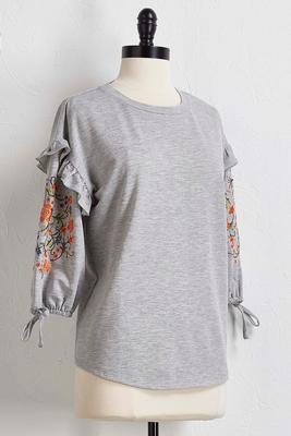 ruffled embroidered sleeve top