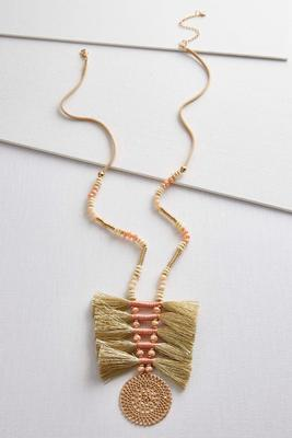 tasseled thread disk necklace