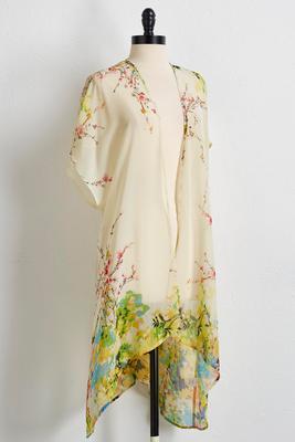 watercolor floral kimono cardigan