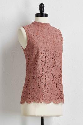 scalloped lace mock neck tank