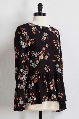 floral crepe peplum top