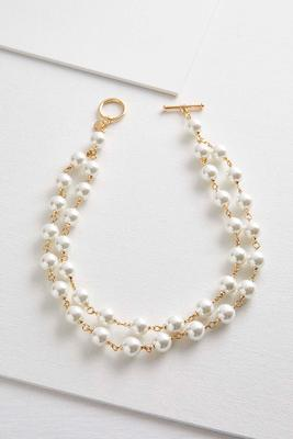 double row toggle pearl necklace