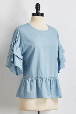ruffled chambray top