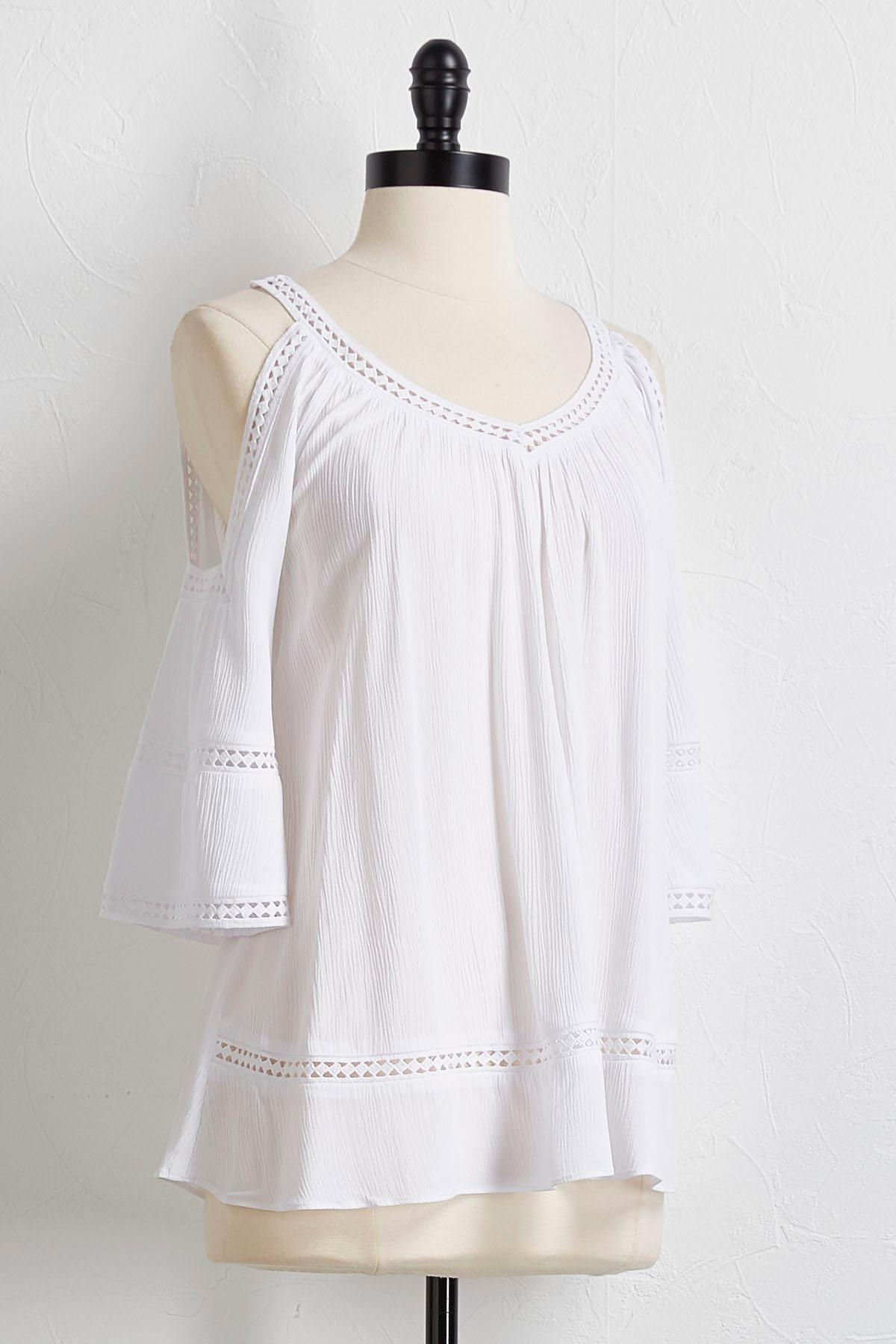 Bare Shoulder Lattice Trim Top