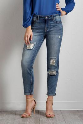 destructed sequin embellished girlfriend jeans