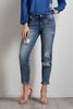 Destructed Sequin Embellished Girlfriend Jeans