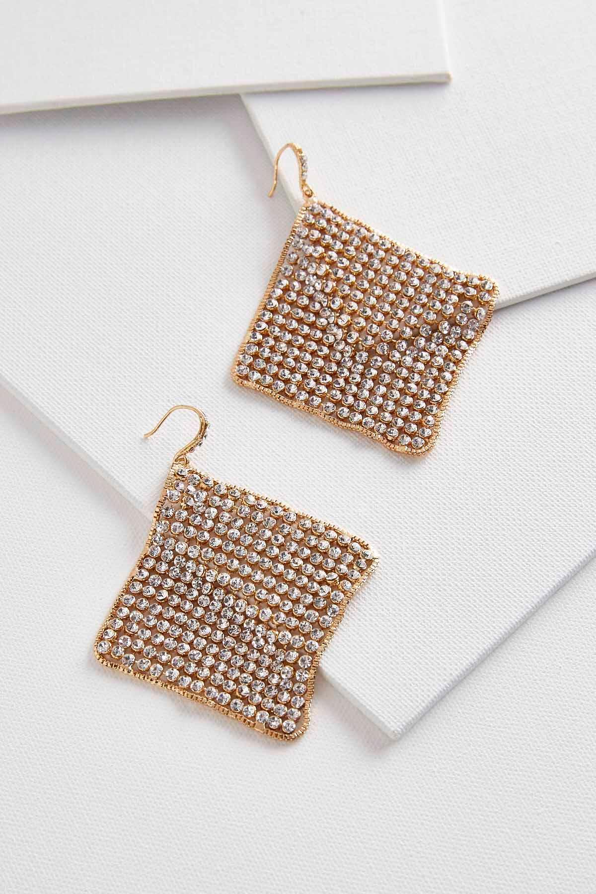 Stone Mesh Statement Earrings