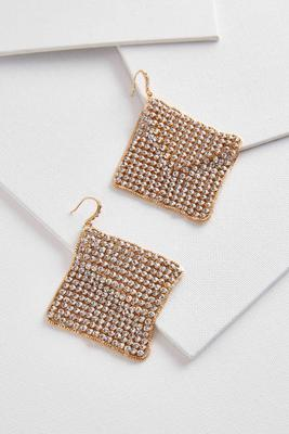 stone mesh statement earrings