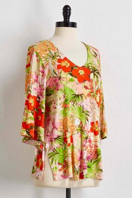 tropical floral flare sleeve top