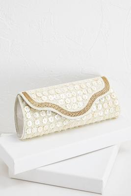 scalloped button beaded clutch