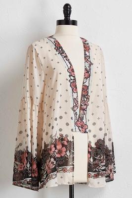 sheer floral kimono cardigan
