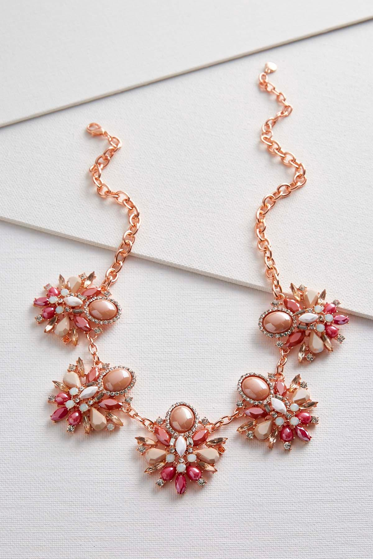 Stone Cluster Bib Necklace