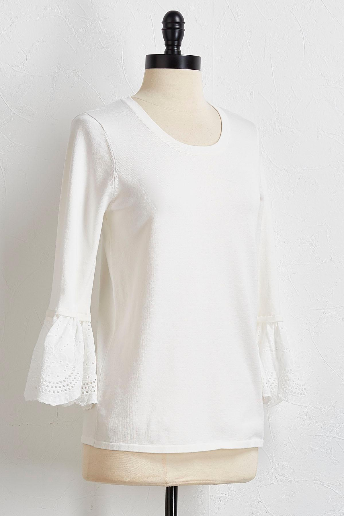 Eyelet Bell Sleeve Sweater