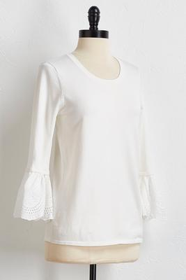 eyelet bell sleeve sweater