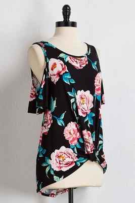 floral bare shoulder front knot top