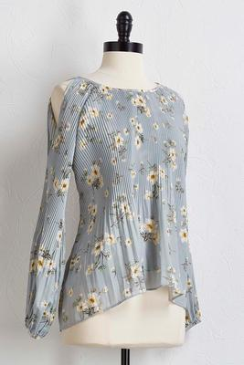 pleated floral bare shoulder top