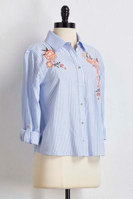 stripe embroidered button down shirt