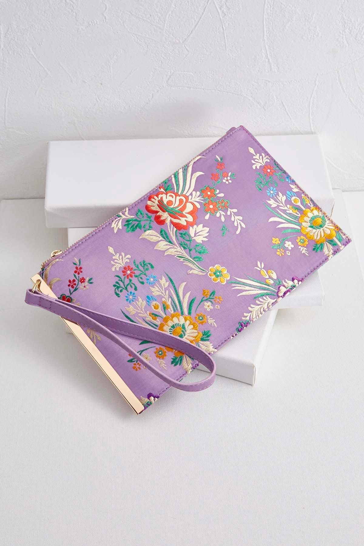 Floral Brocade Wristlet
