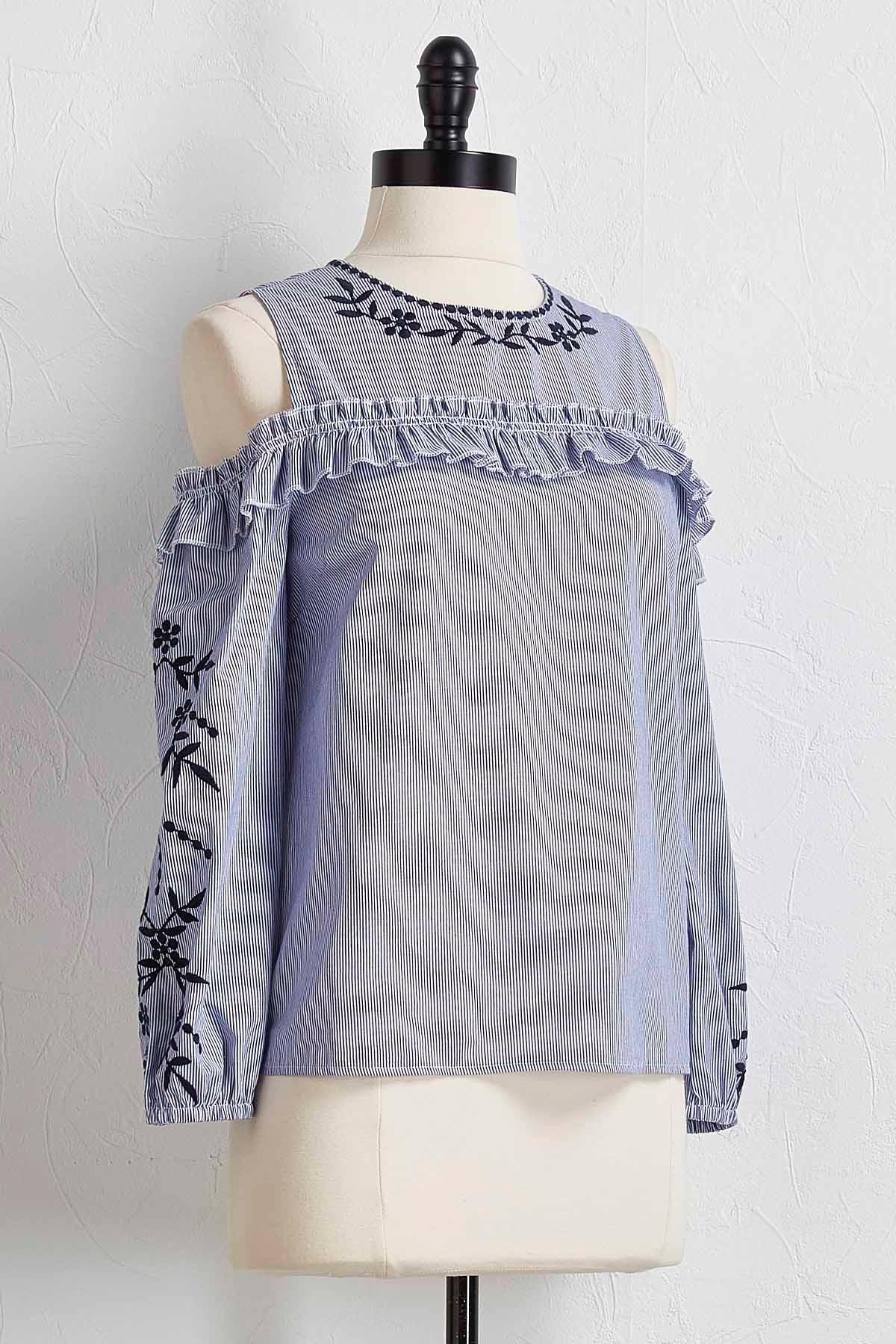 Embroidered Striped Bare Shoulder Top