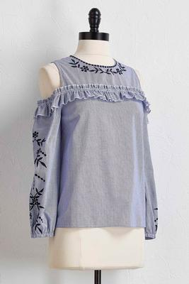 embroidered striped bare shoulder top