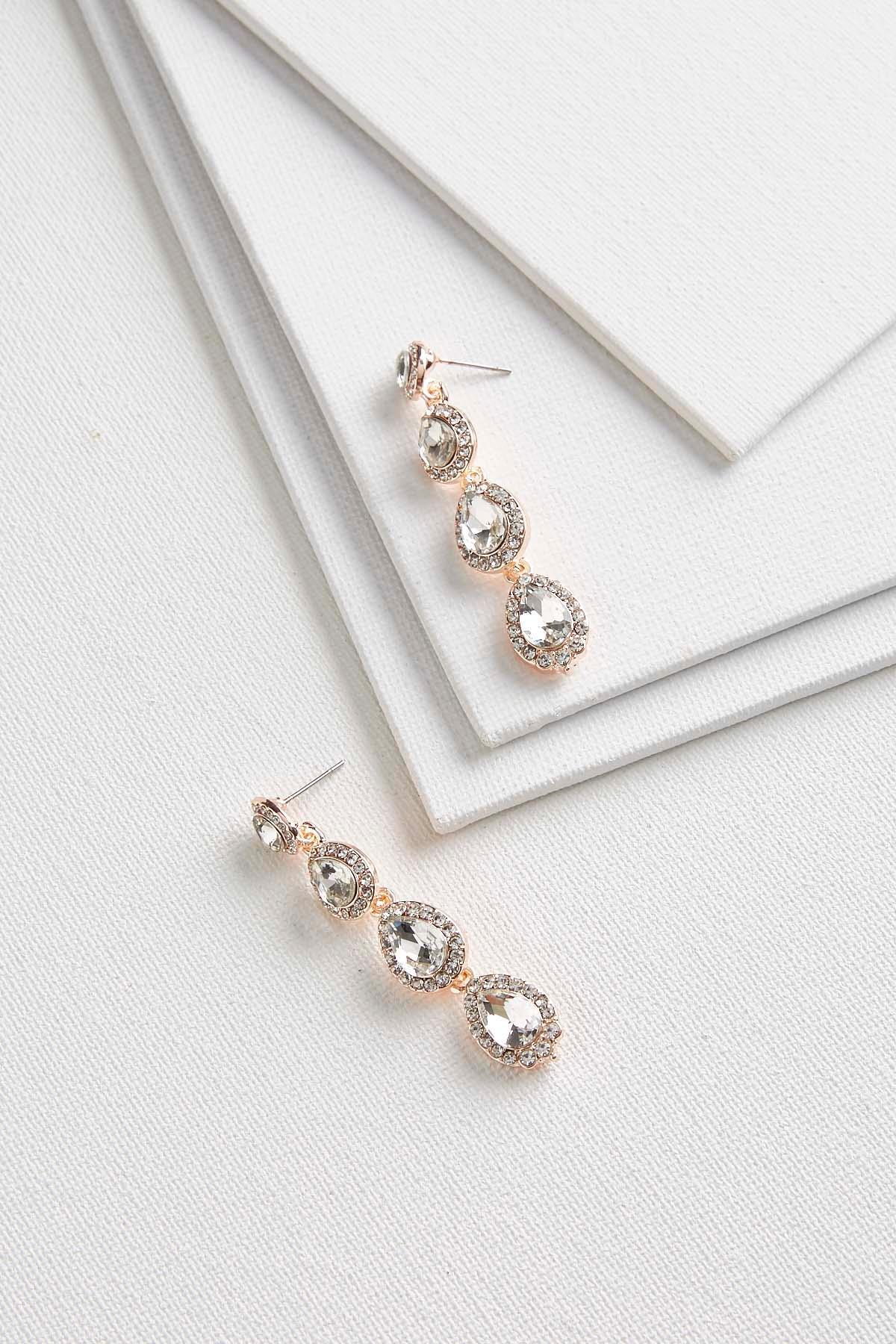 Linear Tear Shaped Stone Earrings