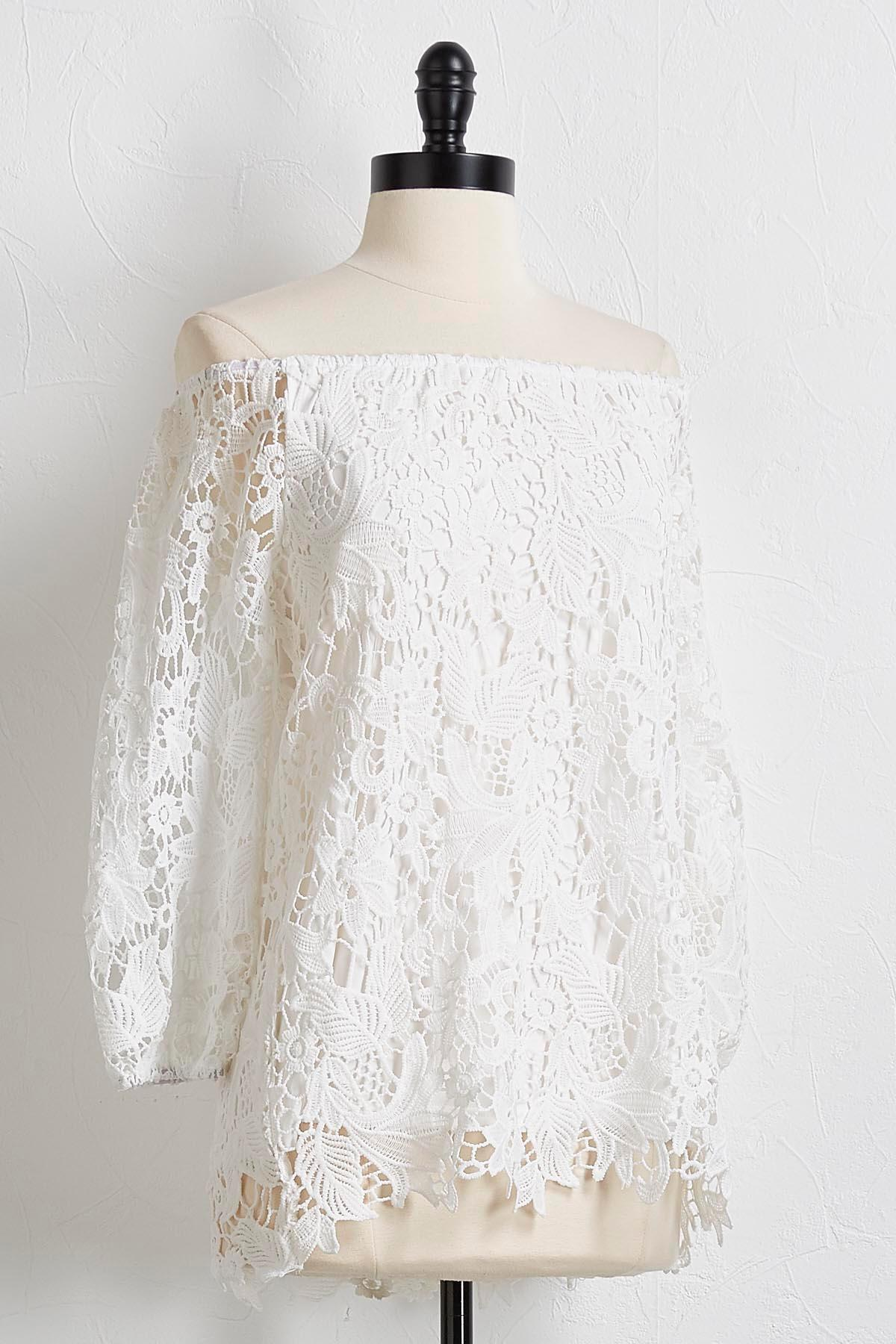 White Crochet Off The Shoulder Top