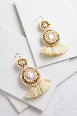fabric back tassel earrings