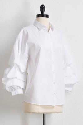 balloon tiered sleeve poplin top