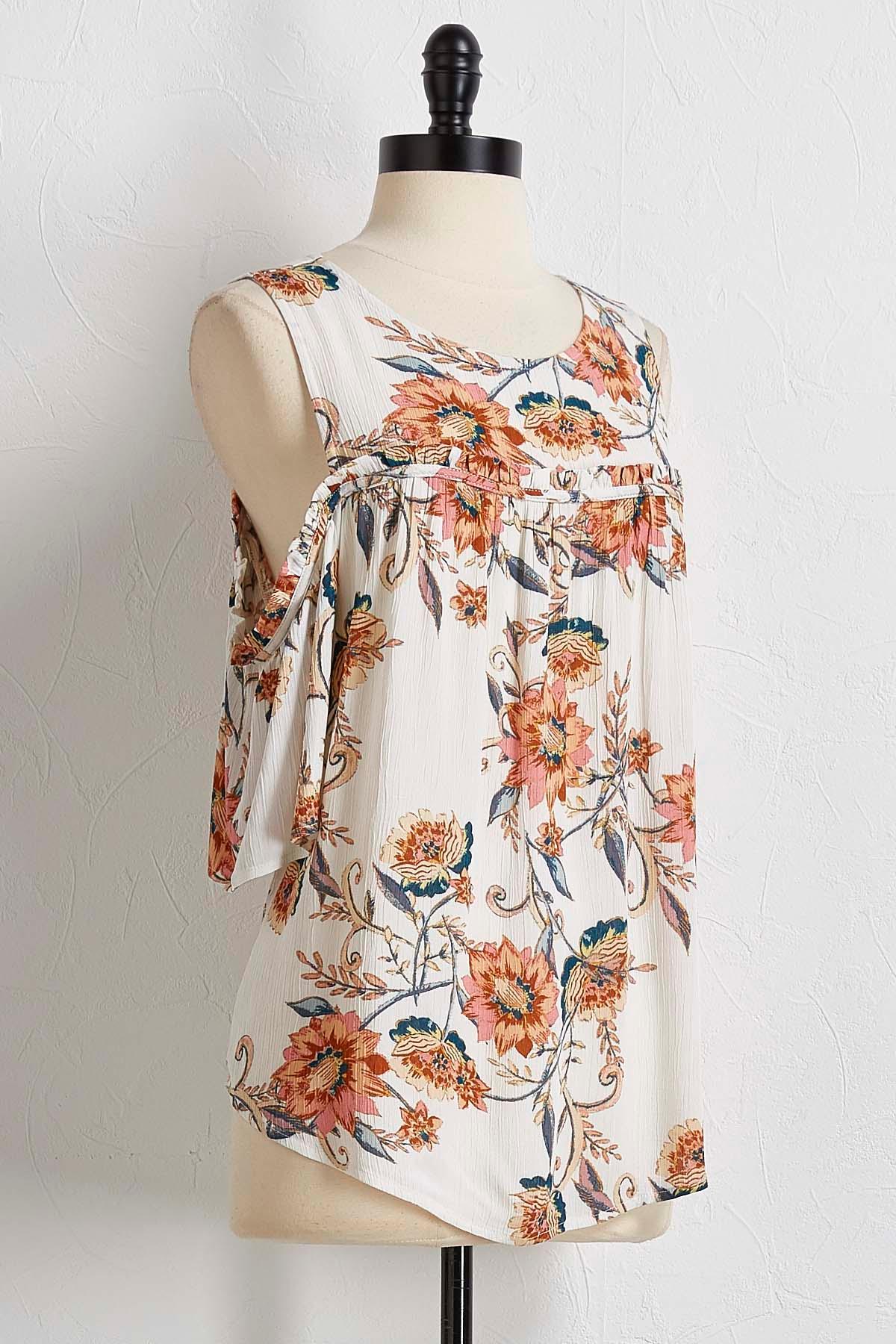 Vine Floral Bare Shoulder Top