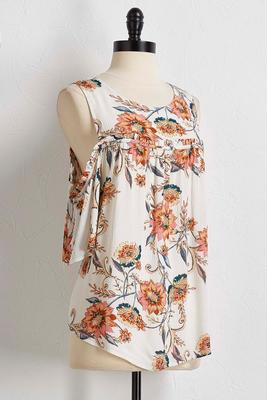 vine floral bare shoulder top