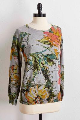 watercolor floral sweater